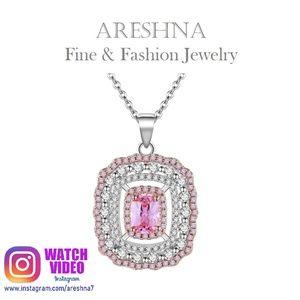 Pink Swarovski Crystals Luxury Pendant Necklace